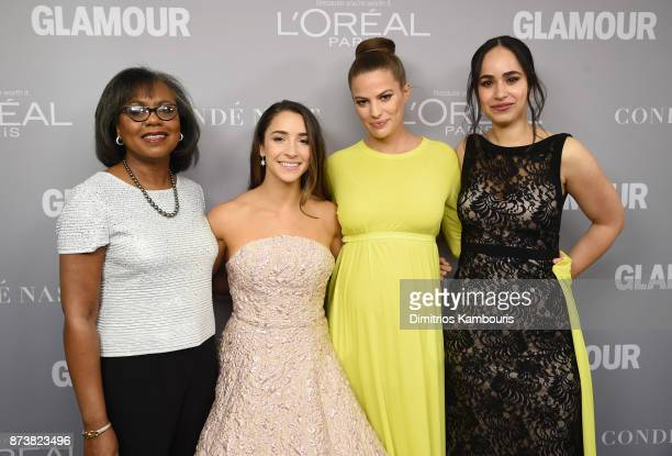 Anita Hill Aly Raisman Cameron Russell and Anna Cardenas pose backstage at Glamour's 2017 Women of The Year Awards at Kings Theatre on November 13...