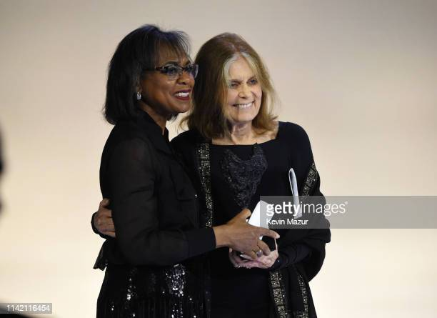 Anita Hill and Gloria Steinem pose for a photo during the 10th Annual DVF Awards at Brooklyn Museum on April 11 2019 in New York City