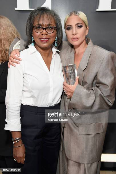 Anita Hill and Lady Gaga attend ELLE's 25th Annual Women In Hollywood Celebration presented by L'Oreal Paris, Hearts On Fire and CALVIN KLEIN at Four...