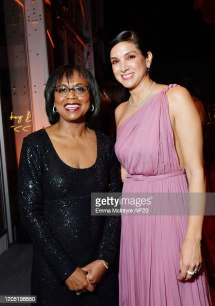 Anita Hill and Vanity Fair Editor-in-Chief Radhika Jones attend the 2020 Vanity Fair Oscar Party hosted by Radhika Jones at Wallis Annenberg Center...