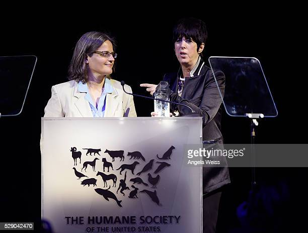 Anita Krajnc and honoree Diane Warren speak onstage during The Humane Society of the United States' to the Rescue Gala at Paramount Studios on May 7...