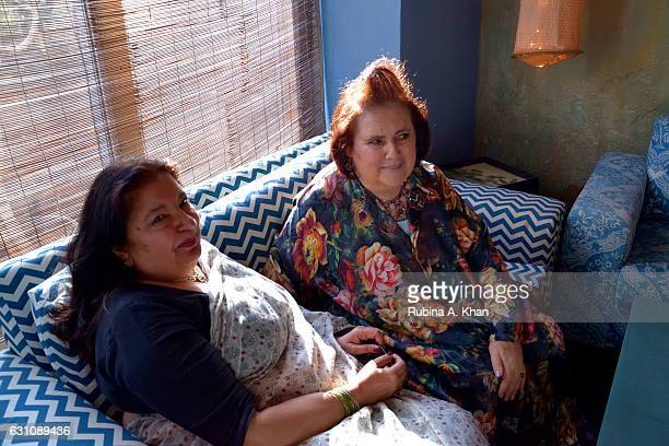 Anita Lal of Good Earth and Suzy Menkes International Vogue Editor at a hightea hosted at Good Earth Lower Parel on January 6 2017 in Mumbai India