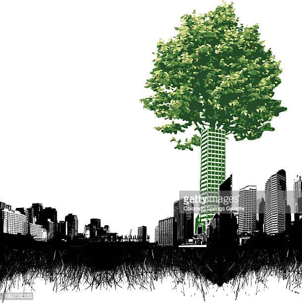 Anita Langemach color illustration of green skyscraper topped with the leaves and branches of a tree rising above among smaller darker buildings in...
