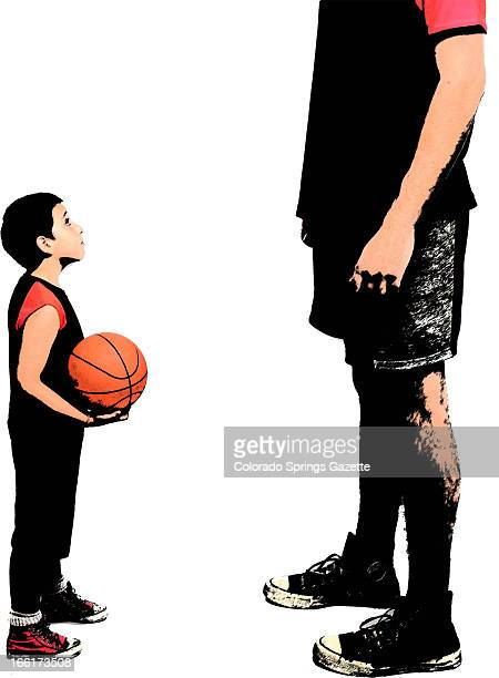Anita Langemach color illustration of young kid with basketball looking up to tall professional athlete The Gazette /MCT via Getty Images