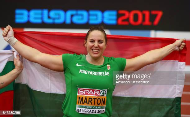 Anita Marton of Hungary celebrates after winning the gold medal in the Women's Shot Put final on day one of the 2017 European Athletics Indoor...
