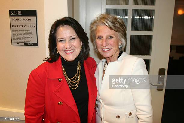Anita McBride executive in residence at American University's School of Public Affairs left and Jane Harman president and chief executive officer of...