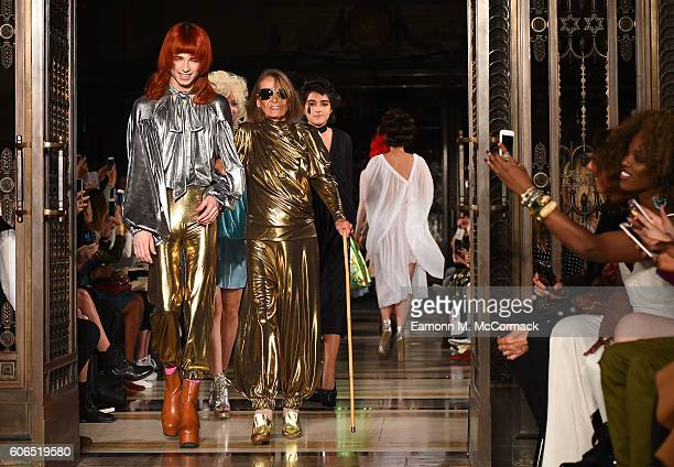 Anita Pallenberg walks the runway at the Pam Hogg show at Fashion Scout during London Fashion Week Spring/Summer collections 2017 on September 16...