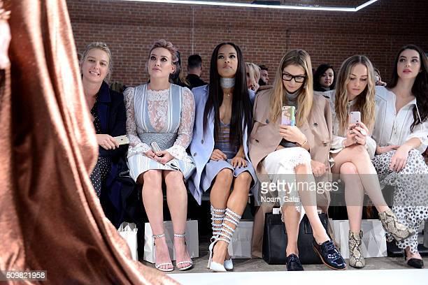 Anita Patrickson Hillary Duff Serayah McNeill Jessica Hart Zella Day and Adelaide Kane attend Zimmermann Fall 2016 Runway Show at Art Beam on...