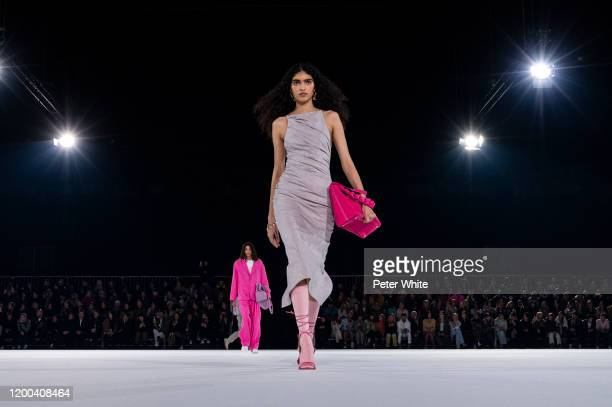 Anita Pozzo walks the runway during the Jacquemus Menswear Fall/Winter 2020-2021 show as part of Paris Fashion Week on January 18, 2020 in Paris,...