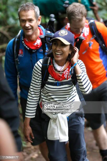 Anita Rani and Alexander Armstrong arrive in camp on day 1 of 'Kilimanjaro The Return' for Red Nose Day on February 23 2019 in Arusha Tanzania all to...