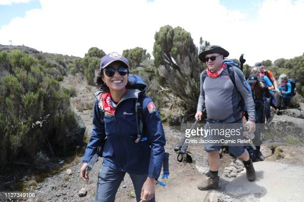 Anita Rani and Ed Balls walk together on day 3 of 'Kilimanjaro The Return' for Red Nose Day on February 25 2019 in Arusha Tanzania All to raise funds...