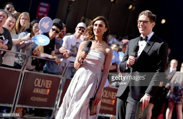 Anita Rani and Frank Dilella present the red carpet at The Olivier Awards 2017 at Royal Albert Hall on April 9 2017 in London England