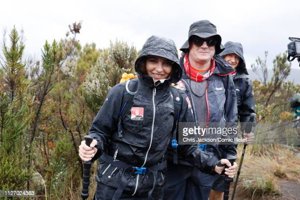 Anita Rani Ed Balls and Alexander Armstrong arrive in camp on day 1 of 'Kilimanjaro The Return' for Red Nose Day on February 23 2019 in Arusha...