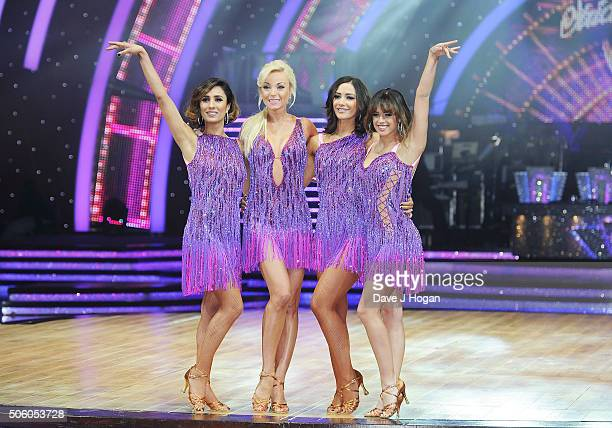 Anita Rani Helen George Frankie Bridge and Georgia May Foote pose for a photo during the Strictly Come Dancing Live Tour rehearsals Strictly Come...