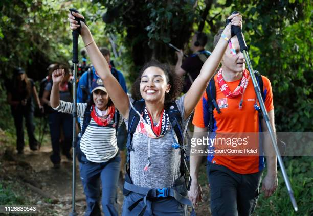 Anita Rani LeighAnne Pinnock and Dan Walker arrive in camp on day 1 of 'Kilimanjaro The Return' for Red Nose Day on February 23 2019 in Arusha...