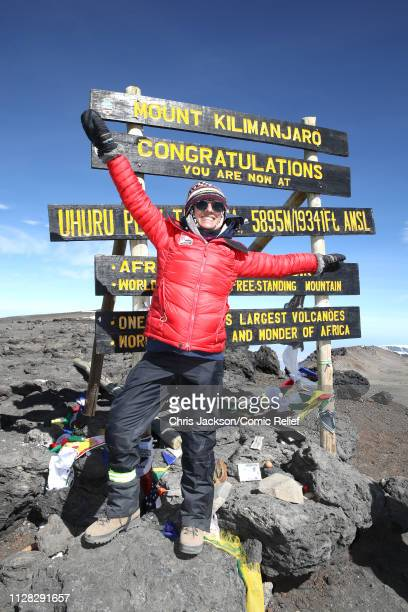 Anita Rani poses at the top of Mount Kilimanjaro during day seven of 'Kilimanjaro The Return' for Red Nose Day on March 01 2019 in Arusha Tanzania...