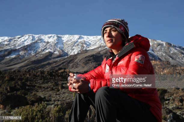 Anita Rani takes a break during day five of 'Kilimanjaro The Return' for Red Nose Day on February 27 2019 in Arusha Tanzania all to raise funds for...