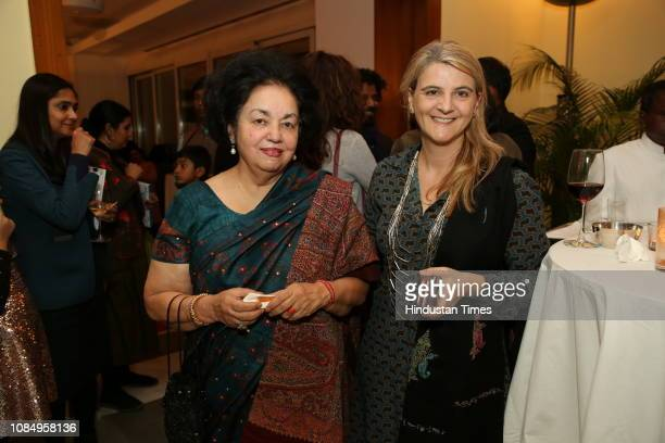 Anita Singh and Isabelle Jaitly at the launch of Over and Under Ground in Mumbai Paris an Indofrench illustrated book of poetry published by Westland...