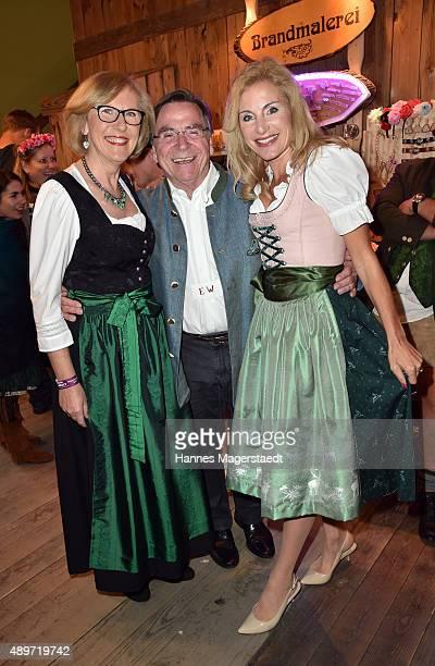 Anita Wepper Elmar Wepper and Birgit Muth attend the Radio Gong 963 Wiesn at Weinzelt during the Oktoberfest 2015 on September 23 2015 in Munich...