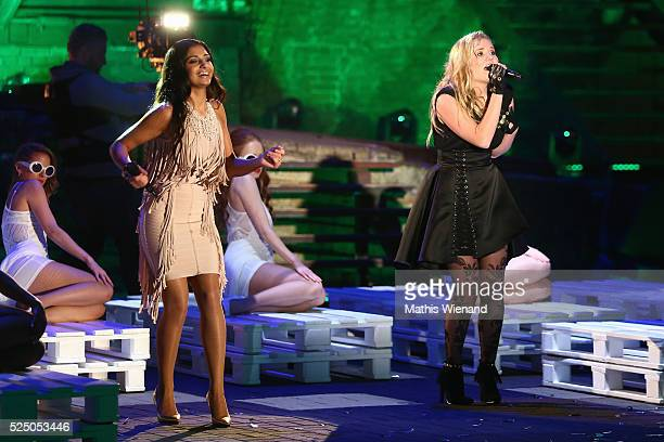 Anita Wiegand and Laura van de Elzen perform during the third event show of the tv competition 'Deutschland sucht den Superstar' at Landschaftspark...