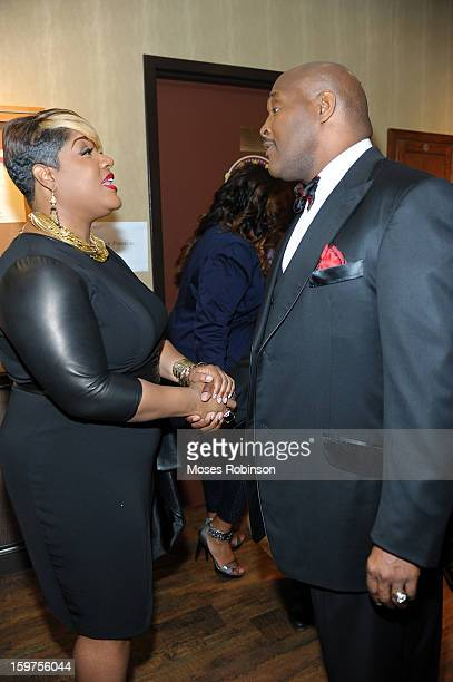 Anita Wilson and Marvin Winans attend the 28th Annual Stellar Awards Backstage at Grand Ole Opry House on January 19 2013 in Nashville Tennessee
