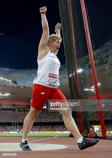 Anita Wlodarczyk of Poland celebrates after competing in the Women's Hammer Final during day six of the 15th IAAF World Athletics Championships...
