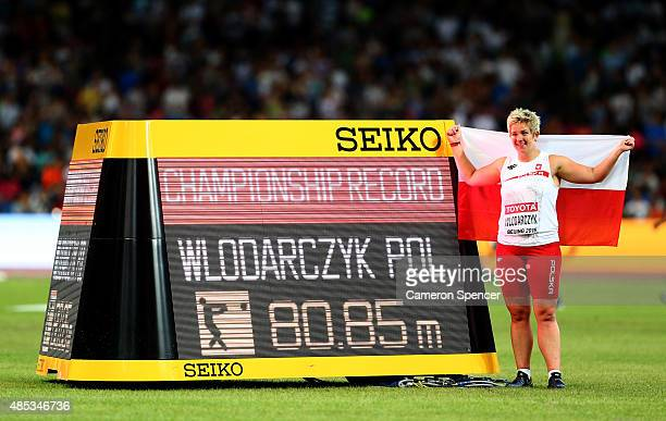 Anita Wlodarczyk of Poland celebrates after winning gold in the Women's Hammer Final and setting a new Championship Record during day six of the 15th...