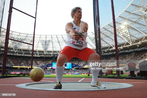 Anita Wlodarczyk of Poland competes in the women's Hammer Throw during Day One of the Athletics World Cup at London Stadium 2018 presented by Muller...