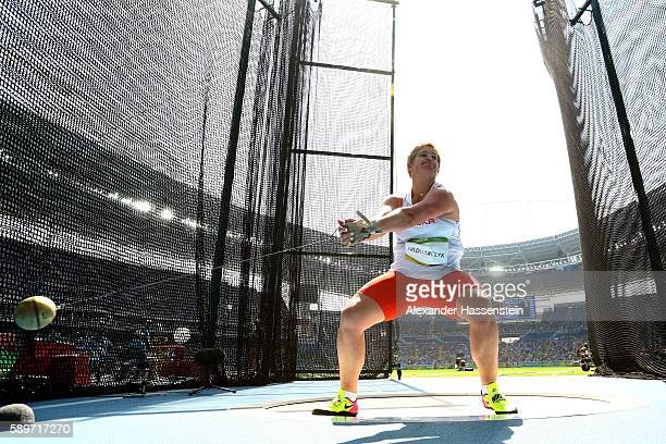 Anita Wlodarczyk of Poland competes in the Women's Hammer Throw final on Day 10 of the Rio 2016 Olympic Games at the Olympic Stadium on August 15,...