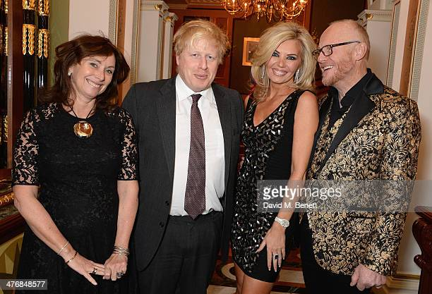 Anita Zabludowicz Boris Johnson Claire Caudwell and John Caudwell attend a dinner hosted by John Caudwell on March 5 2014 in London England