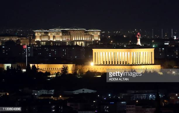 Anitkabir the mausoleum of modern Turkey's founder Mustafa Kemal Ataturk and the Presidential Palace complex are seen in Ankara on March 30 2019