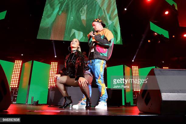 Anitta and J Balvin perform at Miami Bash 2018 at American Airlines Arena on April 14 2018 in Miami Florida