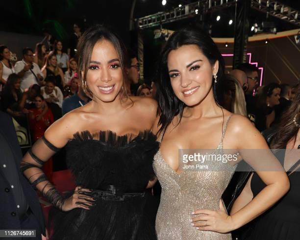 Anitta and Maite Perroni attend Univision's 31st Edition Of Premio Lo Nuestro A La Musica Latina Pink Carpet at American Airlines Arena on February...