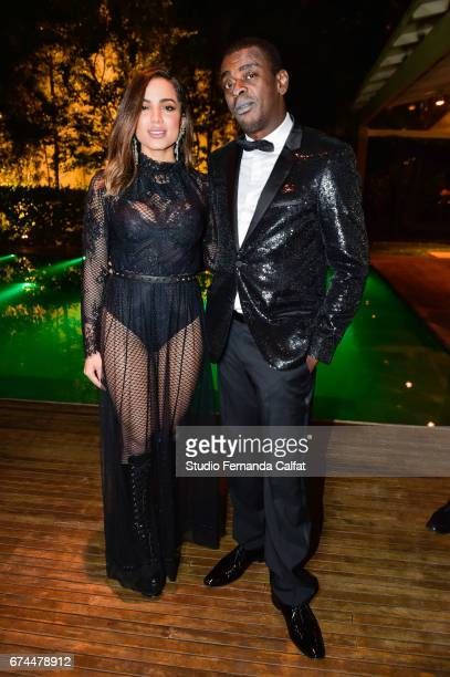 Anitta and Seu Jorge attends the 7th Annual amfAR Inspiration Gala on April 27 2017 in Sao Paulo Brazil