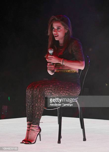 Anitta is seen performing on stage during the 'Vibras Tour' at the AmericanAirlines Arena on October 28 2018 in Miami Florida