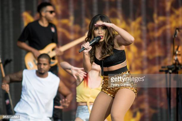 Anitta performs at the Mundo stage on day two of Rock in Rio Lisbon on June 24 2018 in Lisbon Portugal