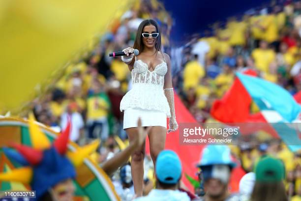 Anitta performs during the closing ceremony ahead of the Copa America Brazil 2019 Final match between Brazil and Peru at Maracana Stadium on July 07...
