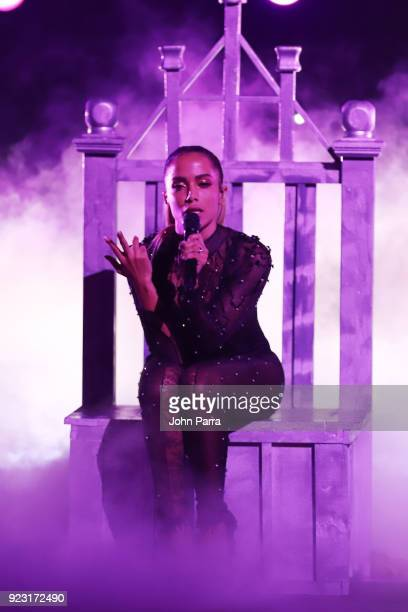 Anitta performs onstage during Univision's 30th Edition Of 'Premio Lo Nuestro A La Musica Latina' at American Airlines Arena on February 22 2018 in...