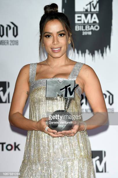 Anitta poses in the Winners room after winning the Best Brazilian Act award during the MTV EMAs 2018 on November 4 2018 in Bilbao Spain