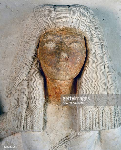 Aniuia's face the scribe Meryneith's wife detail from the double statue of the high priest Meryneith and his wife Aniuia painted limestone dating...