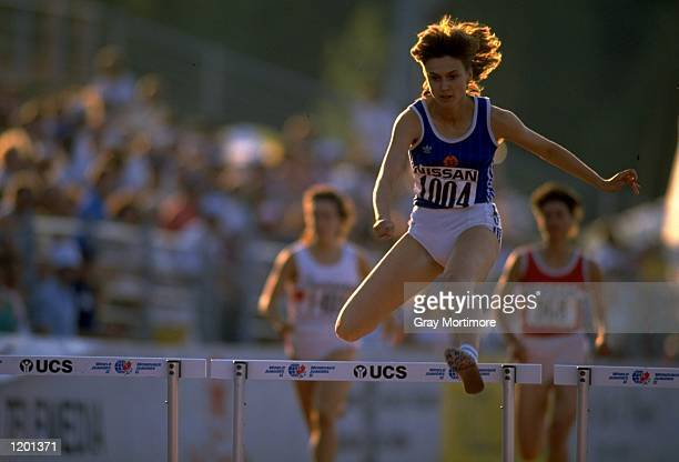 Anixe Axemann of East Germany in action during the 400 metres Hurdles event at the World Junior Championships Axemann finished in first place...