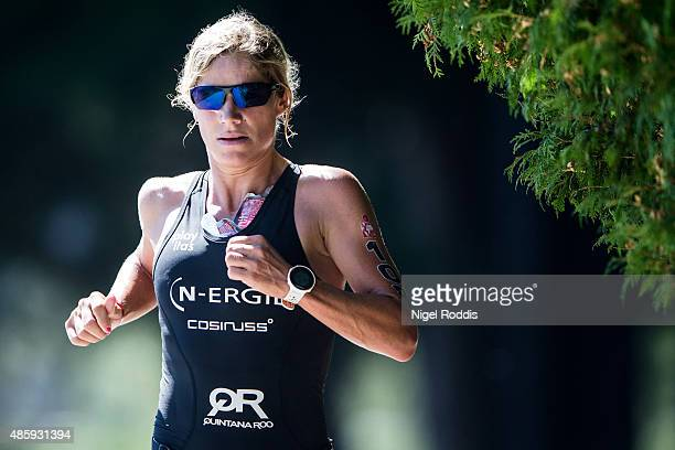 Anja Beranek of Germany competes in the running during the Ironman 703 World Championship Zell am See Kaprun on August 30 2015 in Zell am See Austria