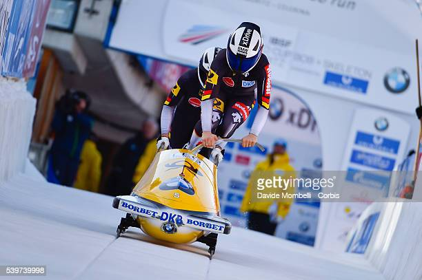 Anja Drazek Annika in action during the start BMW IBSF World Cup Bob 2 women 2015/2016 St Moritz Swiss