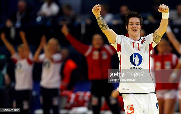 Anja Edin of Norway celebrate the goal during the Women's European Handball Championship 2012 gold medal match between Norway and Montenegro at Arena...