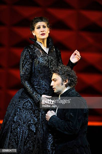 Anja Harteros as Elizabeth of Valois and Jonas Kaufmann as Don Carlos in the Royal Opera's production of Giuseppe Verdi's Don Carlo directed by...