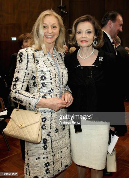 Anja Heine and Ann Kathrin Bauknecht attend the official birthday reception to former German Chancellor Helmut Kohl at the Pfalzbau on May 5 2010 in...
