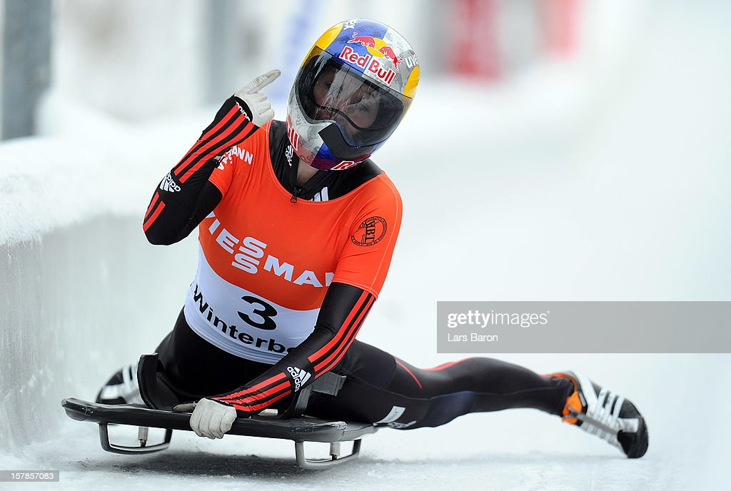 Anja Huber of Germany celebrates after the women's skeleton competition during the FIBT Bob & Skeleton World Cup at Bobbahn Winterberg on December 7, 2012 in Winterberg, Germany.