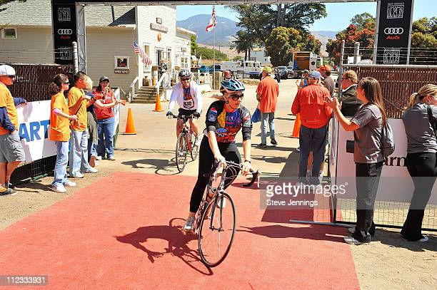 Anja Kaehny rides at the finishing line at the Audi Best Buddies Challenge at Hearst Castle on September 12 2009 in Carmel California
