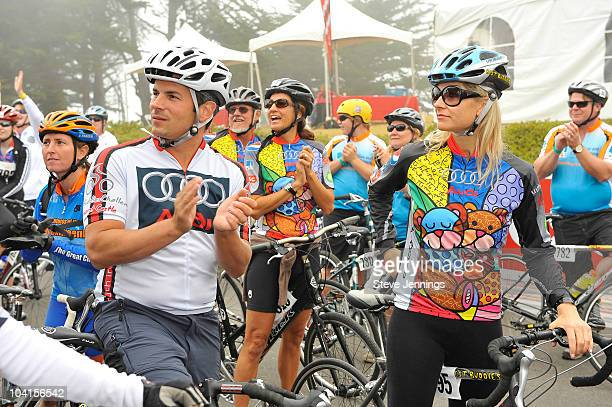 Anja Kaehny with bicyclists at the Audi Best Buddies Challenge at Hearst Castle on September 12 2009 in Carmel California