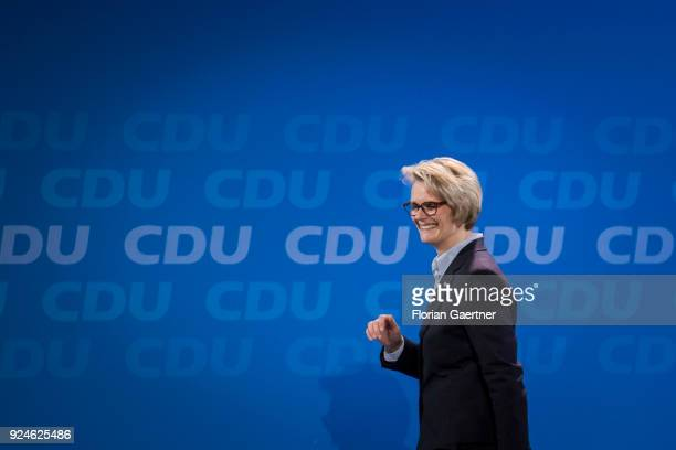 Anja Karliczek designated German Education Minister is pictured at the 30th German Christian Democrats party congress on February 26 2018 in Berlin...
